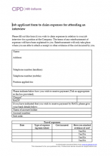 Job application form to claim expenses for attending interview