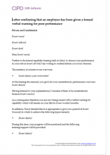Letter confirming that an employee has been given a formal verbal warning for poor performance