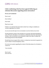 Letter confirming what has been agreed following an informal discussion regarding minor unsatisfactory performance