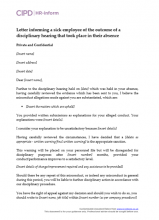 Letter informing a sick employee of the outcome of a disciplinary hearing that took place in their absence