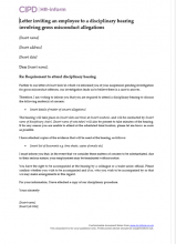 Letter inviting an employee to a disciplinary hearing for gross misconduct