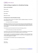 Letter inviting an employee to a disciplinary hearing