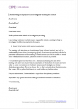 Letter inviting an employee to an investigatory meeting