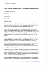 Letter inviting an employee to disciplinary appeal hearing