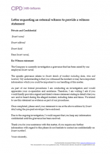 Letter requesting an external witness to provide a witness statement