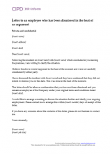 Letter to an employee who has been dismissed in the heat of an argument
