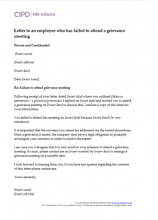 Letter to an employee who has failed to attend a grievance meeting