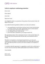 Letter to employee confirming promotion