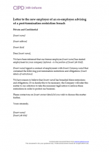 Letter to the new employer of an ex-employee advising of a post-termination restriction breach