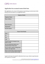 Employee form to apply for a season ticket/welfare/financial harship loan
