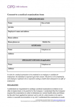 Form for a job applicant to consent to a medical examination