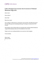 Letter advising of pay increase due to increase of NMW rates