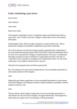 Letter confirming a pay freeze