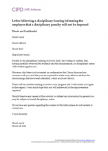 Letter following a disciplinary investigation informing the employee that disciplinary proceedings will not take place