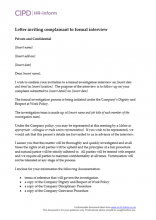 Letter to invite complainant to a formal investigation interview