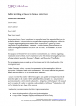 Letter to invite witness to a formal investigation interview