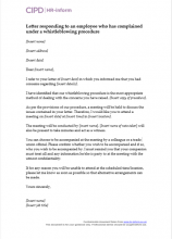 Letter responding to an employee who has complained under a protected disclosure procedure
