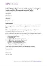 Letter advising of pay increase due to employee moving to different band of NMW