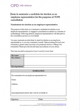 Form to nominate a candidate for election as an employee representative for Tupe consultation