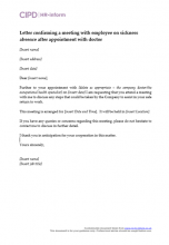 Letter confirming a meeting with absent employee after doctors appointment