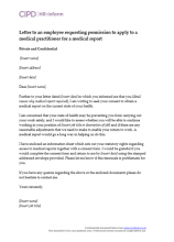 Letter to an employee requesting permission to apply to a medical practitioner for a medical report