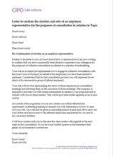 Letter to confirm the election of an employee representative for Tupe consultation