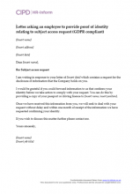Letter asking an employee to provide proof of identity relating to subject access request