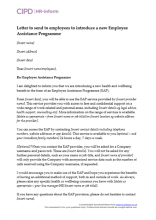 Letter to send to employees to introduce a new Employee Assistance Programme