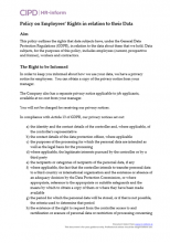 Policy on employees' rights in relation to their data