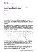 Letter acknowledging a discrimination or harassment complaint relating to mental health