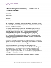 Letter confirming outcome following a discrimination or harassment complaint