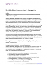 Mental health anti-harassment and bullying policy