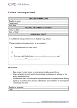 Employee form to request parent's leave