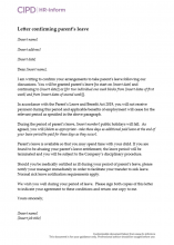 Letter to confirm parent's leave