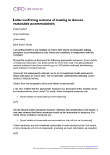 Letter confirming outcome of meeting to discuss reasonable accommodations