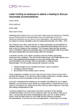 Letter inviting an employee to attend a meeting to discuss reasonable accommodations